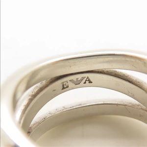 Emporio Armani Sterling Silver Multi Row Ring